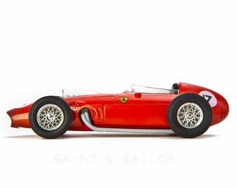 Red Ferrari Vintage Race Car on White Background, One Photo Print, Boys Room decor, Vintage Car Prints
