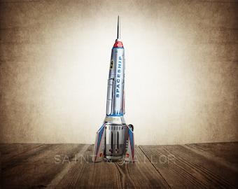 Retro Tin Spaceship Rocket , One Photo Print, Space Toy art, Vintage Rocket prints, Boys Room decor, Vintage Space Art,