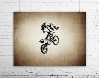 Freestyle Motocross Dead Body on Vintage, Wall Decor, Wall Art,  Kids Room, Gift Ideas, Motorcycle Prints