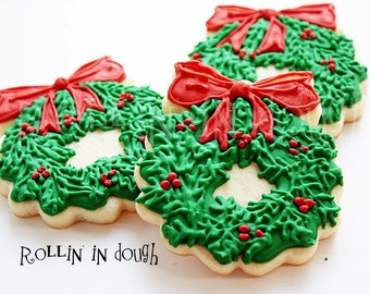 Christmas Cookies, Christmas Wreath Cookies, Wreath Cookies, Holiday Cookies - 1 Dozen