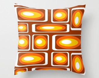Modern Brown Pillow, Geometric Throw Pillow,  Mid Century Modern Pillow, Modern Throw Pillow,  Retro Pillow, Orange,