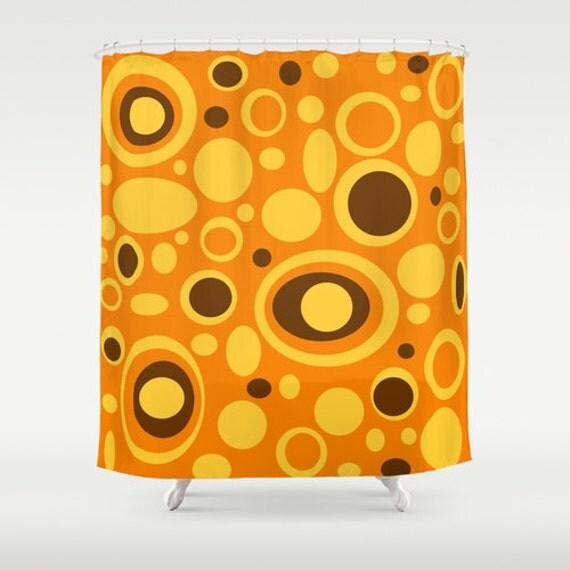 Orange shower curtain modern shower curtain mid century modern