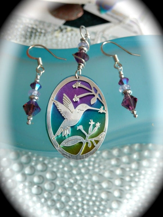 Mothers day gift hummingbird jewelry set niobium jewelry