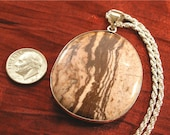 SALE - Silver Necklace with Picture Jasper Stone Pendant - Gift for Mom NK-46