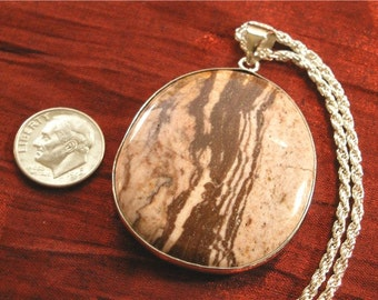 SALE - Mom Gift Idea, Silver Necklace with Picture Jasper Stone Pendant - Gift for Mom NK-46
