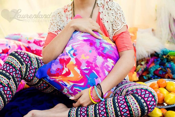 Bright Abstract Colorful Pillow Cover with beautiful tones of magenta, hot pink, orange, bright blue, yellow. Art Pillow. Neon, Funky, Color