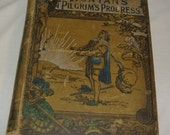 book Pilgrims Progress vintage classic collectable antique 1800s lots of pictures student