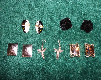 CLEARANCE Lot of 5 Pairs of Earrings 60s, 70s, 80s Pierced, Clip Black & Silver