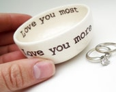 boyfriend gift LOVE YOU MORE ring dish jewelry holder vitamin dish mother's day gift bridal shower gift baby shower gift wedding ring dish