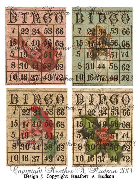 28 Vintage Christmas Bingo Game Playing Cards (actual cards numbered different so you can actually play game) Collage Sheet Printable Game