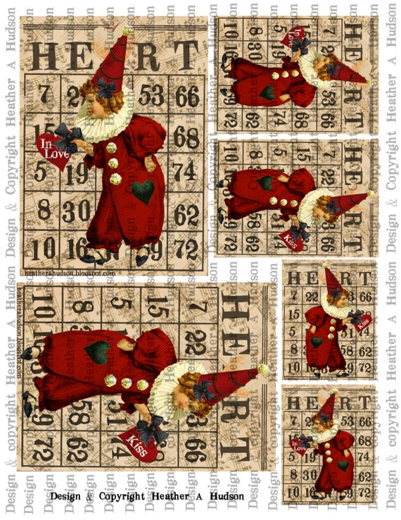 Prim Primitive Folk Art Valentine's Red Clown Bingo Card Focals ATC Digital Collage sheet Printable