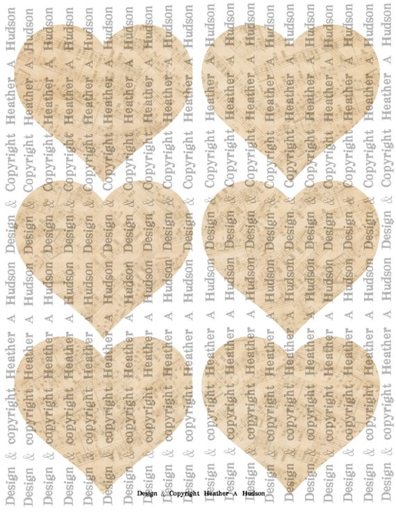 Vintage Shabby Chic cream Large plain heart BasesTags  Digital Collage sheet Printable