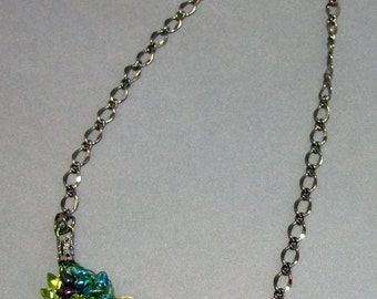Adjustable Wire Crochet Necklace of Japanese Magatama Glass