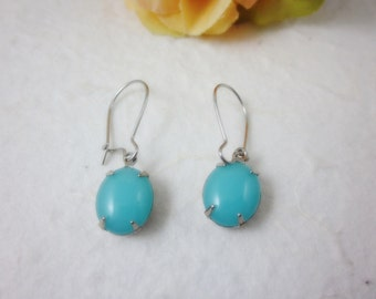 Art Deco Celadon Blue Vintage Glass Earrings. Gift for her. Bridesmaids Gifts. Bridal Jewelry. Vintage Wedding.