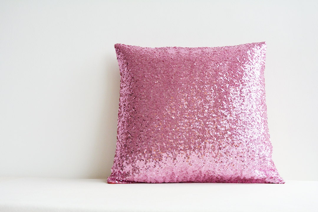 Pink Sequin Decorative Pillows : Shiny Pink Sequin Pillow Cover Pink Holiday Decor by anekdesigns