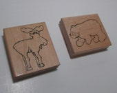 Large Animal wood mounted rubber stamps - Destash, wooden, two stamps