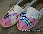 Cosmetics & Leopard Print Custom Hand Painted TOMS Shoes II
