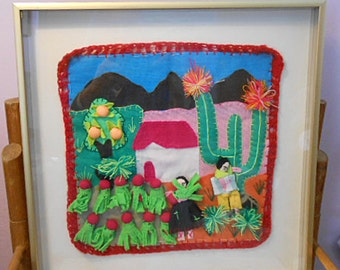 ARPILLERA PERU FARMERS Prim Folk Art Textile Collage, Colorful Farm Cactus Harvest Orange Tree Mountains, Handmade 3d Rustic Boho Tapestry