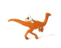 Wood Gallimimus Dinosaur Pendant Necklace Canarywood Ornithomimosaur Hand Cut Scroll Saw
