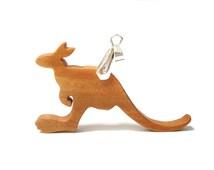 Kangaroo Pendant Necklace Scroll Saw Wood Wallaby Australian Animal Jewelry Cherry