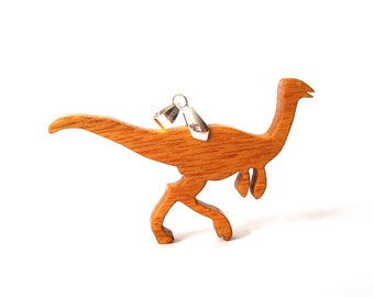 Wood Gallimimus Dinosaur Pendant Necklace Canarywood Ornithomimosaur Hand Cut Scroll Saw