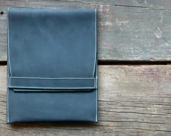Leather iPad Case- black leather, suede lined