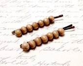 Vintage Bead Hair Accessories Wood Bead Hair Clip Barrette. Brown Wood Beaded Bobby Pins.