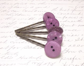 Vintage Orchid Purple Button Bobby Pins. Rustic Wedding Hair Accessories. Purple Hair Pins. Set of 5.