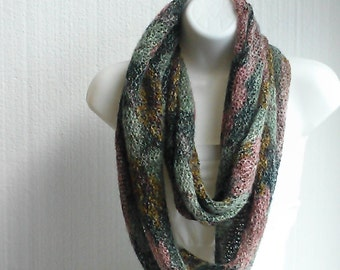 Romantic Soft Infinity Hairy Knit Scarf with Abstract Gold Mauve Hunter Green Print and  Soft Metallic Yarn Accent