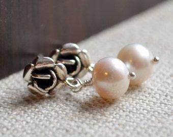 Flower Girl Earrings, White Freshwater Pearl, Genuine, Child Children Girl, Sterling Silver, Rose Ear Posts
