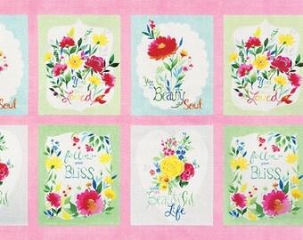 Fleurologie - Fleur Panel in Pinkberry by Stephanie Ryan for Moda Fabrics