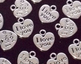 I Love You Heart Charms, Pendants, Double Sided, Antique Silver Pewter, 12x12mm, Lead Free, Lot Size 12 to 50, SALE #1192