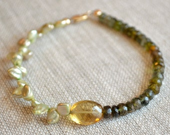 Beaded Tourmaline Bracelet, Honey Quartz Gemstone, Olive Green, Freshwater Keishi Pearl Bangle, Gold Filled Jewelry, Free Shipping