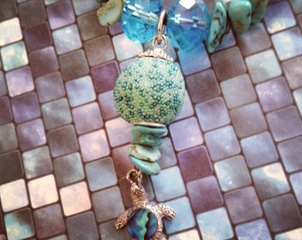 Turquoise Abalone Turtle  Necklace
