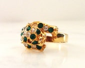 Vintage Green and Clear Rhinestone Leopard Ring