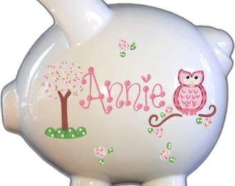 Personalized Piggy Bank with Pink Owl Design | Girl | Pink| Baby Gift | Large | Free Shipping