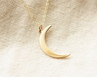 Cresecent Moon Necklace, Gold Moon Charm, Gold Filled Necklace, Sterling Silver Crescent Necklace, Dainty Necklace, Layering Necklace