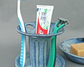 Toothbrush Holder Large Capacity 6 Slots in Cobalt Blue