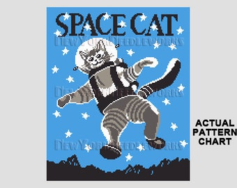Space Cat Cross Stitch, Cat Cross Stitch, Cross Stitch, Vintage Children's Book, Animal Cross Stitch, Cats from NewYorkNeedleworks on Etsy