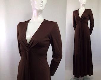 Vintage Estevez 1970s maxi-dress Chocolate brown Plunging V neck Polyester Sexy Long Sleeve Designer sexy