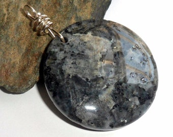 Larvikite Gemstone Pendant Wire Wrapped Sterling Silver Round