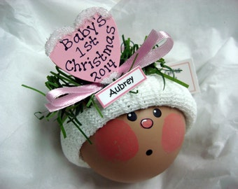 Black Baby 1st Christmas Ornaments 2017 Choice Pink Red Personalized Name Tag Sample Hand Painted Handmade by Townsend Custom Gifts