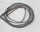 2 mm silver  coated hematite faceted  round beads FULL STRAND