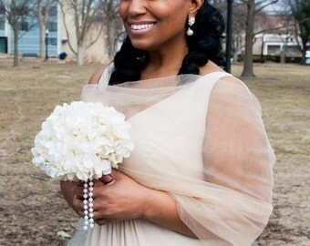 Champagne Tulle Srug Tulle Stole Shear Shawl