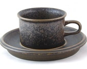 Vintage tea cup and saucer - Arabia Finland Brown Ruska tea coffee drink Kitchen ware Ulla Procope