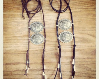 Concho Chest Plate Necklace / Braided Leather