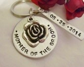 Mother of the groom handstamped silver keychain customized with wedding date, gift for mother of the groom, mother of the groom gift