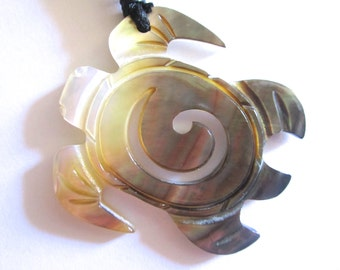 Hand Carved Shell Turtle with Wave on Adjustable Black Cotton Cord