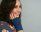 Fingerless Gloves - Texting Gloves - Cabled - Royal Blue