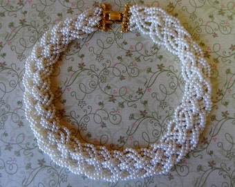 Graceful Braided Damsel, Woven Pearl Bridal Vintage Necklace,